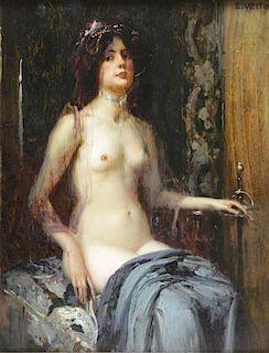 VEITH, Eduard. Oil on Wood Panel. Seated Nude