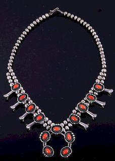 Navajo Coral Silver Squash Blossom Necklace