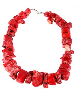 Navajo Large Raw Branch Coral Necklace 2548.5 ct.