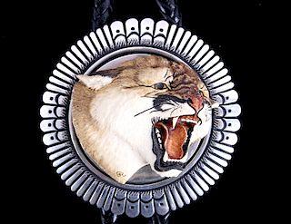Navajo T. Singer Scrimshaw Mt. Lion Sterling Bolo