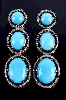 Mid-Century Turquoise & Diamond Dangle Earrings