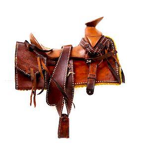 Buckaroo Wade Tree Salesman Sample Saddle 1900's