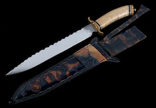 Great Falls Hand Forged Knife With Leather Sheath