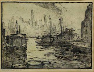 "HULME, James Sanford. Etching ""Hudson River,"