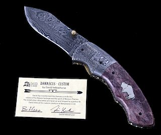 Navajo Dave Yellowhorse Damascus Buffalo Knife