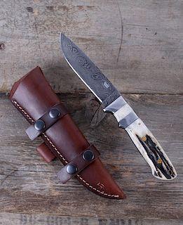 Montana Territory Knives Sambar Stag & Damascus