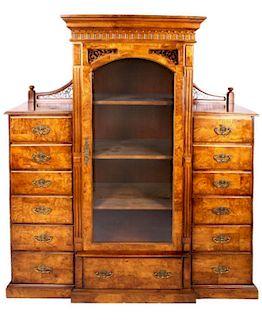 Burl Wood Gentleman's Bedroom Display Cabinet