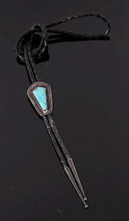 Navajo Old Pawn Sleeping Beauty Turquoise Bolo Tie