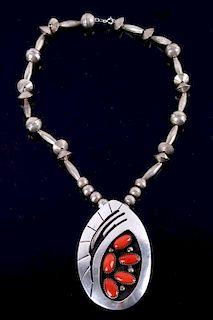 Navajo Sterling Silver & Branch Coral Necklace