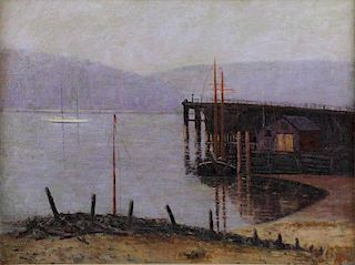 BREWSTER, Eugene. Oil on Canvas. Harbor with Pier.