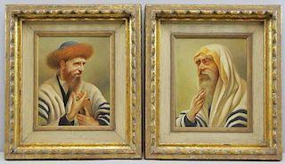 LEITGEB, Franz. Pair of Oil on Masonite Portraits