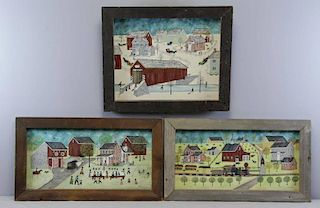 HACKENBERGER, Dolores. Three Oil on Canvas Village