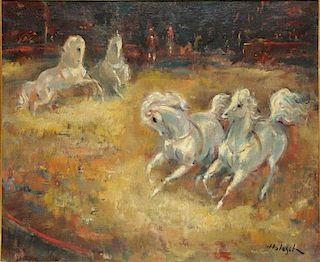DE HOLESCH, Denes. Oil on Canvas of Circus Horses.