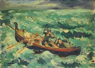 PIERCE, Waldo. Oil on Artist's Board. Fishermen at