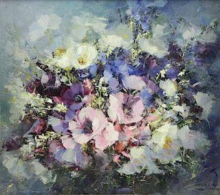 "VIDAL, Hahn. Oil on Canvas. ""Poem in Blue""."