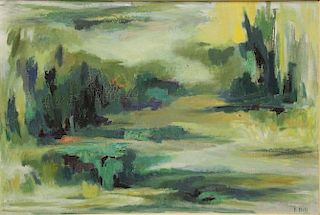 "HILL, I. Abstract Oil on Canvas ""Afternoon"