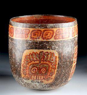 Fine Maya Peten Polychrome Cylinder - Skulls / Turkeys