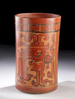 Tall Maya Polychrome Cylinder Vessel