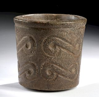 Lovely Chavin Stone Cup w/ Incised Motifs