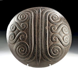 Beautiful Chavin Stone Disc with Carved Swirls