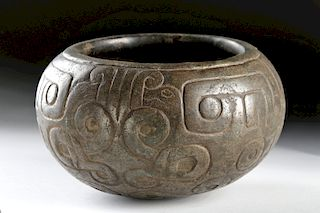 Fine Chavin Incised Stone Bowl w/ Zoomorphic Motifs