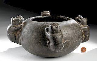 Inca Stone Bowl with Raised Jaguar Reliefs