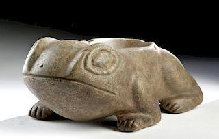 Moche Greenstone Frog Mortar