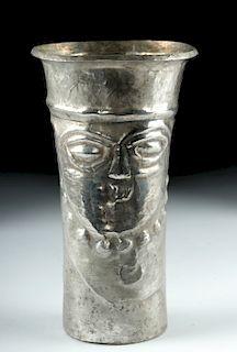 Inca Silver Kero w/ Abstract Face, ex-Ron Messick