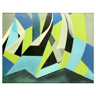 20th Century Abstract Oil on Board Signed
