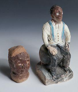 "James ""Son Ford"" Thomas (1926-1993) 2 Sculptures"