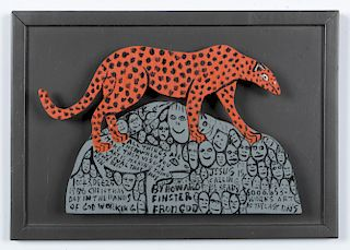 "Howard Finster (1916-2001) ""Leopard"", #6,053"