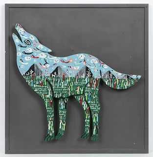 """Howard Finster (American, 1916-2001) """"Howling Wolf"""", 1986"""