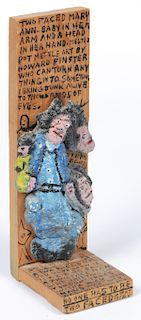 """Howard Finster (1916-2001) """"Two Faced"""", #3,194"""