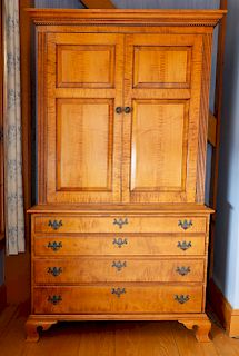 Chippendale Style Tiger Maple Wardrobe