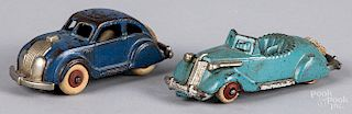 Two small cast iron Hubley cars
