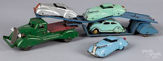 Marx pressed steel car carrier with four cars
