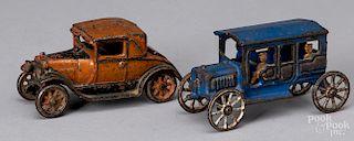 Arcade cast iron Chevrolet coupe, etc.