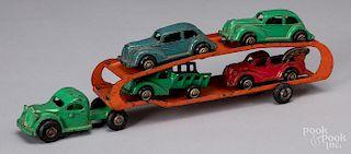 Arcade cast iron GMC car carrier