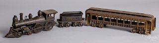 Ideal cast iron three-piece Wabash RR train set