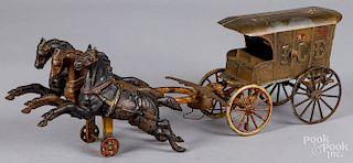 Cast iron three-horse team wagon