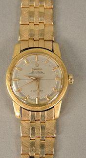 Omega Seamaster automatic chronometer 18 karat mens wristwatch with 14 karat gold band. lg. 7 1/4 in., 72.4 grams