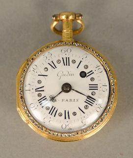 French Gudin open face gold plated pocket watch, having white enameled dial with Roman numerals and outer numbers, pierced balance c...
