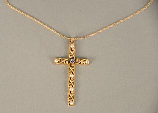 14 karat gold cross and chain, set with one blue stone and six small pearls. ht. 1 3/4 in., 3.8 grams total weight