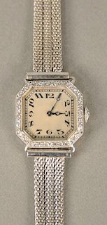 Platinum American Watch Co. ladies wristwatch with 14 karat white gold mesh bracelet, 18 jewels, dial with surround. lg. 5 3/4 in., ...