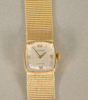 LeCoultre Voguematic 14 karat gold ladies wristwatch with 14 karat mesh gold bracelet. lg. 6 1/8 in., 32.5 grams total weight