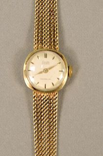 Exita Incabloc 14 karat gold ladies wristwatch with 14 karat mesh band. lg. 5 5/8 in., 19.4 grams total weight