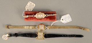 Three ladies wristwatches, LeCoultre, Hamilton, and ladies Elgin with original box.