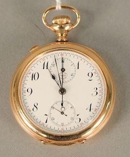 Agassiz chronometer open face pocket watch, gold filled, 52.mm