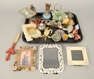 Tray lot with enameled boxes, frames, etc. Provenance: From the Estate of Deborah G. Black of Greenwich, Connecticut
