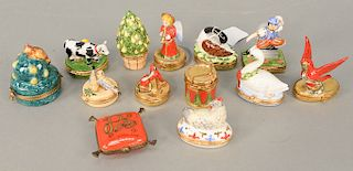 Group of thirteen Limoges France Peint Main trinket figural boxes, 12 Days of Christmas, Partridge Pear & Tree, two Turtle Doves, 3 ...
